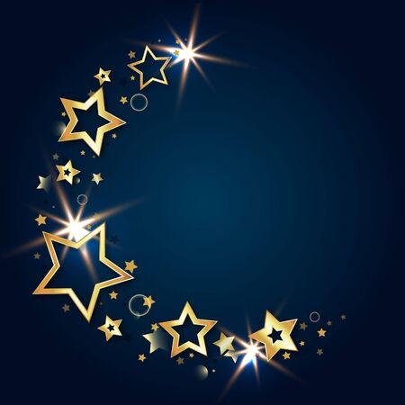 Golden beautiful stars glisten on a blue background illustration 일러스트