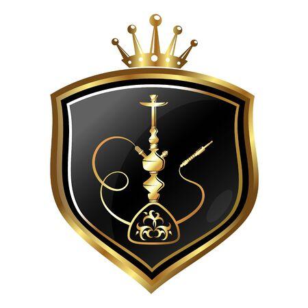 Símbolo dorado de la cachimba y la corona en un escudo