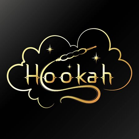 Golden hookah with smoke and stars