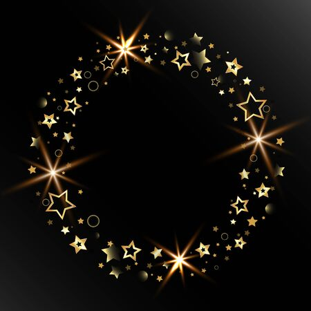 Beautiful abstraction for congratulations with golden glittering stars Stock Illustratie