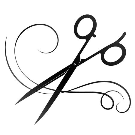 Scissors for beauty salon and a lock of hair silhouette