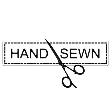Scissors hand sewing and cutting symbol for business