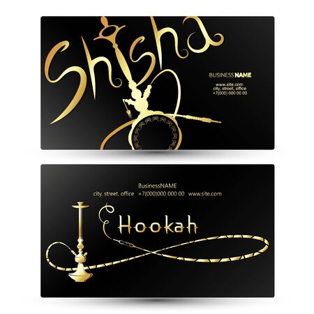 Gold hookah for smoking and relaxation business card