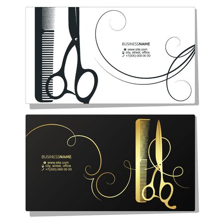 Scissors and comb business card for a beauty salon