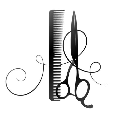 Scissors and comb with curl hair silhouette for beauty salon and hairdresser Çizim