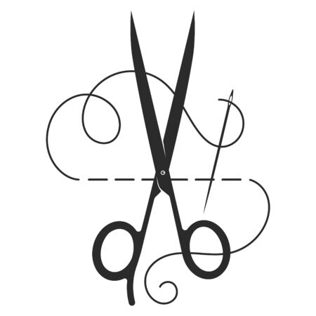 Scissors and needle with thread silhouette