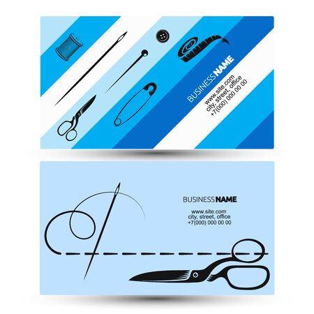 Hand sewing and cutting with tool business card concept