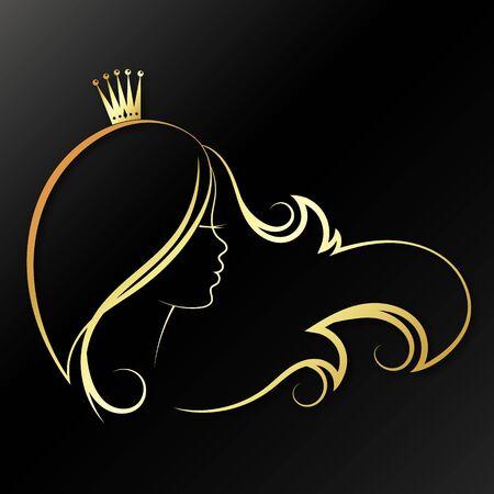 Mädchen mit goldener Krone auf dem Kopf und Haarlocken. Silhouette für Schönheitssalon und Friseur