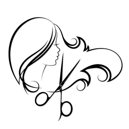Girl with curls of hair and scissors silhouette for a beauty salon and hairdresser