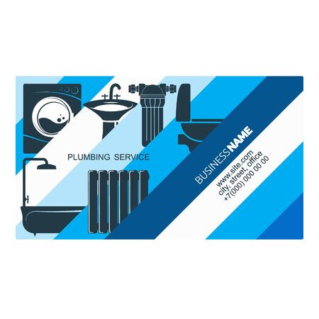 Plumbing repair and service installation business card concept Çizim