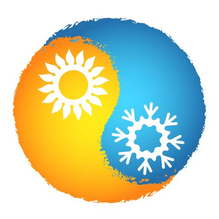 Air conditioner cooling and warm orange sun and blue snowflake symbol