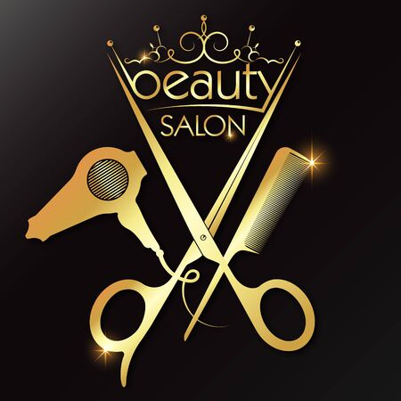 Beauty salon and hairdresser golden crown and scissors comb hair dryer Çizim