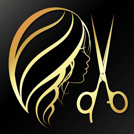 Girl and scissors golden silhouette for a beauty salon and a hairdresser Stock Illustratie