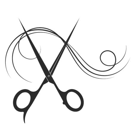Scissors and lock of hair to a beauty salon and barber shop silhouette
