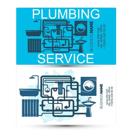 Plumbing and piping service and maintenance business card concept