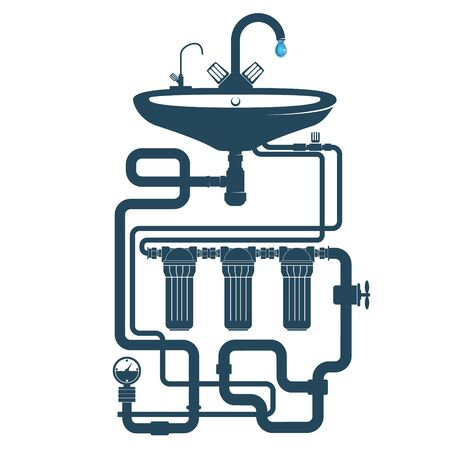Sink with faucet and water pipe system with water filters silhouette Illustration