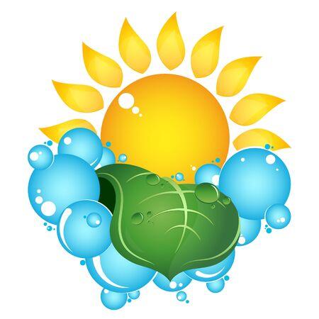 Sol y azul gotas limpias de agua y hoja verde. Ilustración de vector