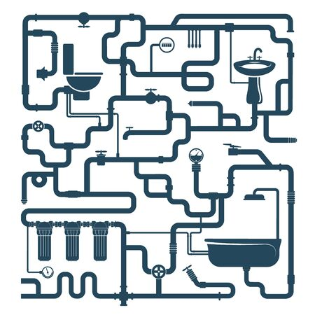 Water pipe plumbing system compound silhouette  イラスト・ベクター素材