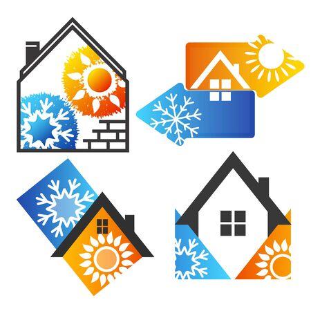 Air conditioning house symbol set illustration 스톡 콘텐츠