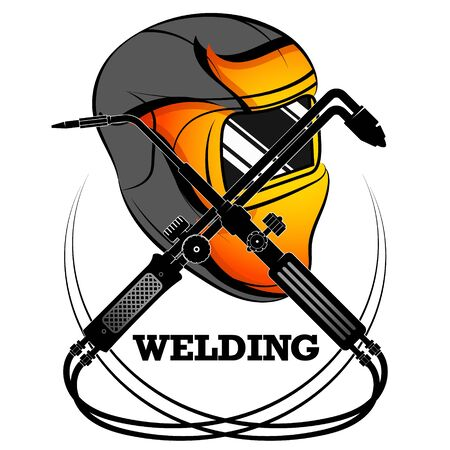 Welder mask protective and welding machine symbol for business