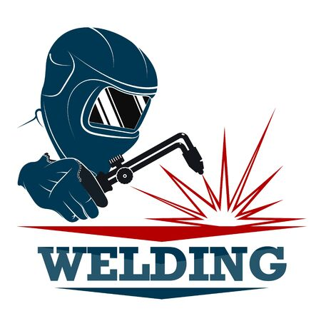 Welder in a protective mask with a tool in his hands Stock Illustratie