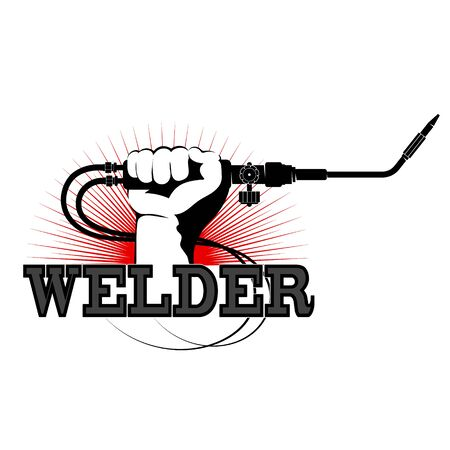 Welder in hand design for welder Illustration