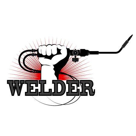 Welder in hand design for welder 일러스트
