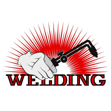 Symbol for welder welding machine in hand silhouette