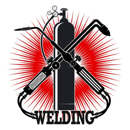 Welding machine and oxygen cylinder silhouette