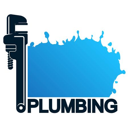 Wrench for plumbing and blue drops of water symbol