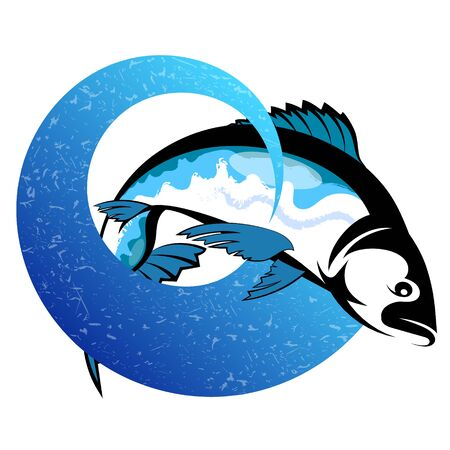 Fish on a wave blue design for fishing