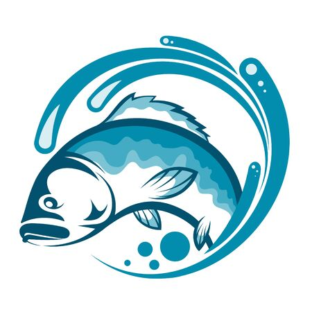Fish on a blue wave of water for fishing design