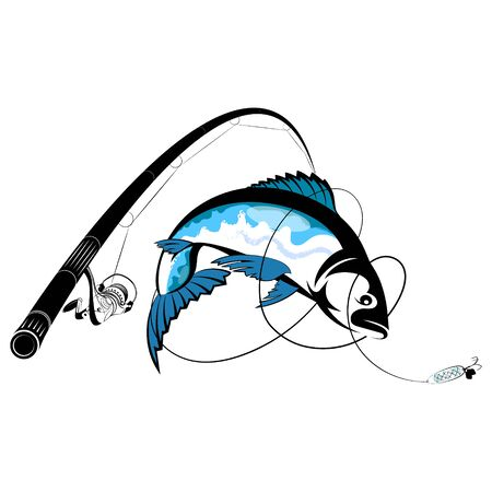 Silhouette fishing rod with reel and fish on a hook