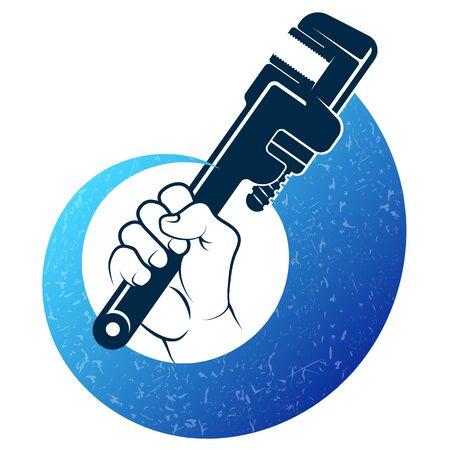 Plumbing repair wrench in hand symbol