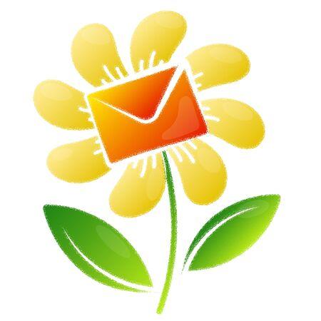 Flower and postal envelope delivery design