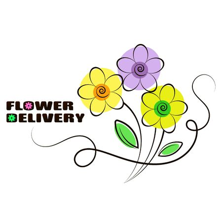 Flowers delivery and sale beautiful silhouette for business