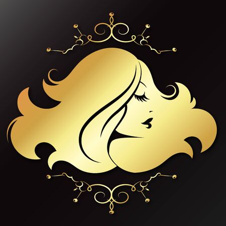 Girl profile with curls of hair golden symbol for beauty