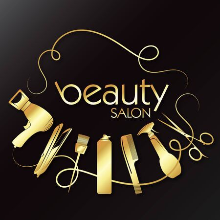 Beauty and hair care golden design with tool