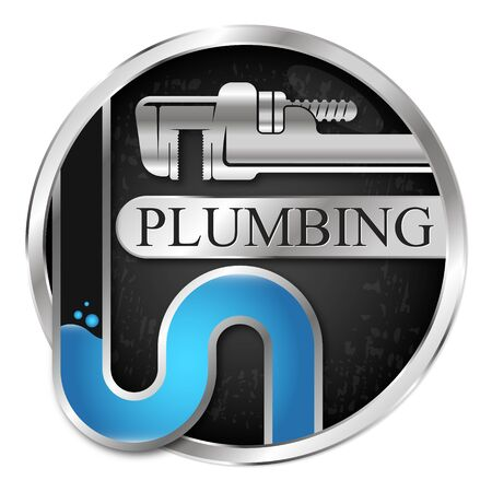 Wrench and pipe water plumbing symbol