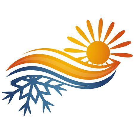 Symbole de flocon de neige de soleil de climatisation et de chauffage pour des affaires Vecteurs