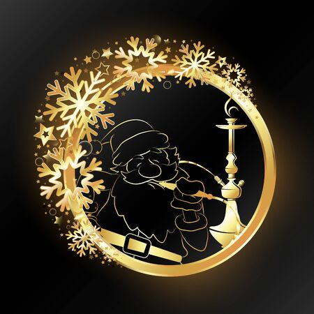 Christmas hookah and Santa in a golden circle with snowflakes illustration