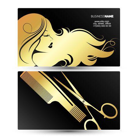 Profil d'une fille aux beaux cheveux. Carte de visite pour un salon de beauté et un styliste