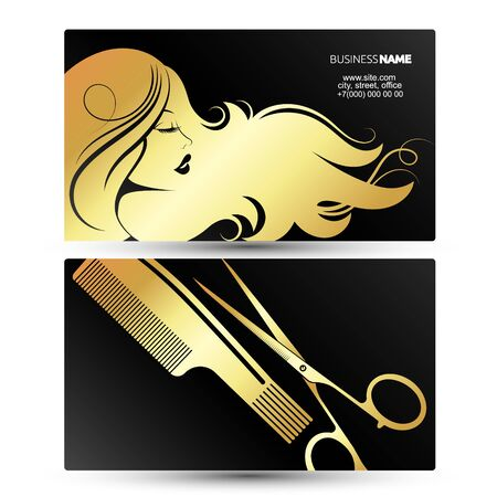 Profile of a girl with beautiful hair. Business card for a beauty salon and stylist