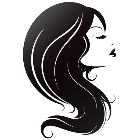 Silhouette of a girl with beautiful hair for a beauty salon