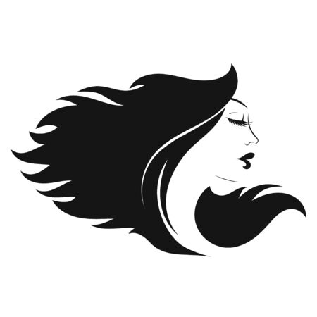 Profile of a beautiful girl with curls of hair Illustration