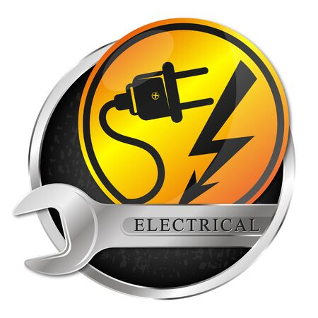 Electricity repair wrench plug and lightning symbol Vektorgrafik