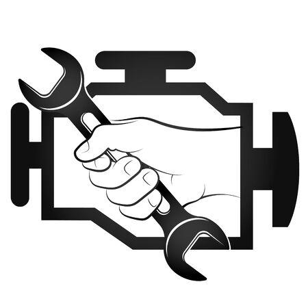 Engine check and auto repair wrench in hand symbol Vektoros illusztráció