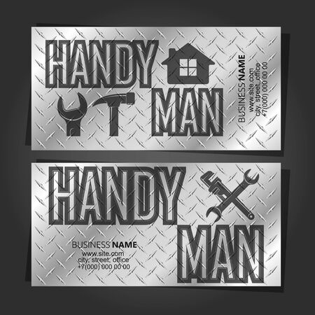 Handyman repair and service business card concept metal Vetores
