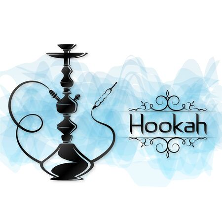 Hookah smoking for relaxation and a silhouette pattern and blue smoke