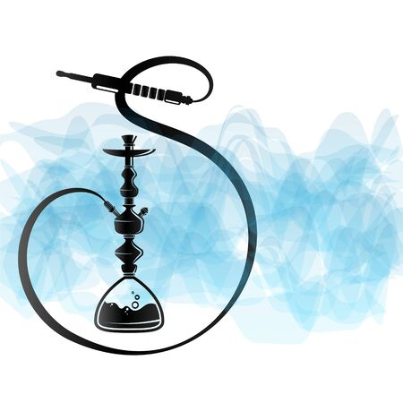 Hookah unique silhouette for relaxation and blue smoke